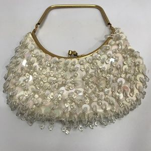 Handbags - Vintage 1960's Sequin Beaded Bag Purse Clutch